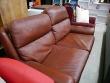 Sulfano Leather 2 Seater Couch Sofa with Pillowback in Burgandy Melbourne CBD Melbourne City Preview