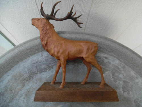 ANTIQUE BLACK FOREST SWISS WOOD CARVING MAJESTIC STAG DEER