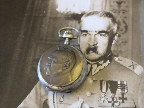 POCKET WATCH with MARSHALL PILSUDSKI - WORKING MECHANISM - SILVER 800 - RARE