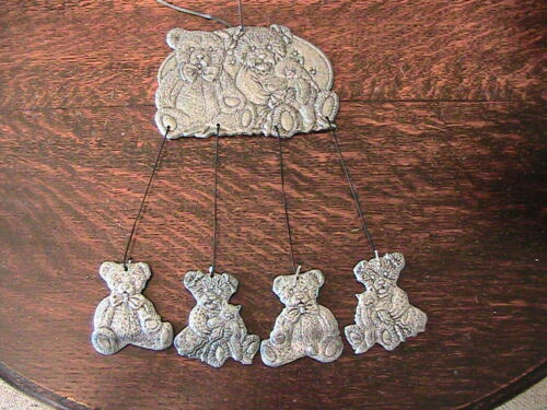 """VINTAGE (1999) CARSON Pewter Wind Chimes - Teddy Bears & Kitty Cats - 16"""""""