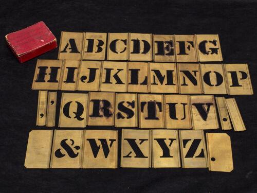 """Adjustable Brass Letter Stencils - Full Set - 1-1/2"""" Antique Font"""