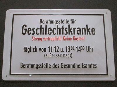 """""""BERATUNGSSTELLE für GESCHLECHTSKRANKE"""", BLECHSCHILD, FUN-SCHILD"""