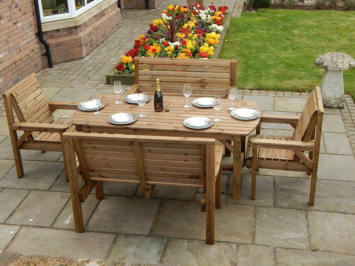 Garden Furniture - WOODEN GARDEN FURNITURE PATIO GARDEN SET 6FT TABLE 2 BENCHES AND 2 CHAIRS