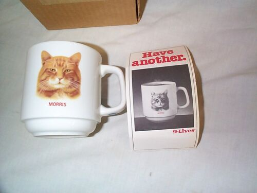 9-LIVES CAT FOOD- MORRIS THE CAT COFFEE MUG-1984-New in Box with flyer