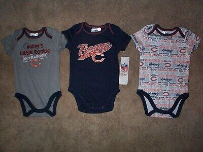 (3) Chicago Bears nfl INFANT BABY NEWBORN CREEPER Jersey Shirt 18 M 8M 18 -