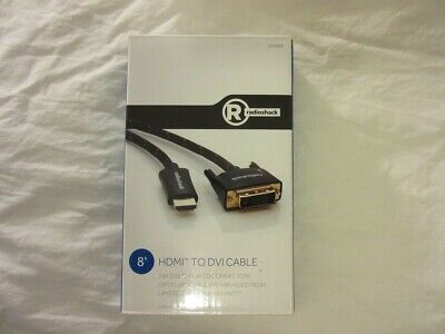 "Radio Shack HDMI to DVI 8ft Cable 1500488 Gold Plated ""Factory New Great Find"