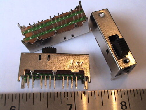 10pcs 6P3T PCB mount 24-pin 3 Positions Slide switches  (802-026)