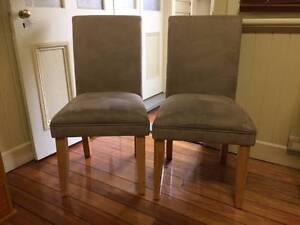Two fawn velour straight-backed chairs Armidale Armidale City Preview
