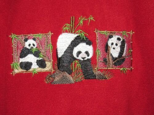 Embroidered Fleece Jacket - Panda Trio A4467 Sizes S - XXL