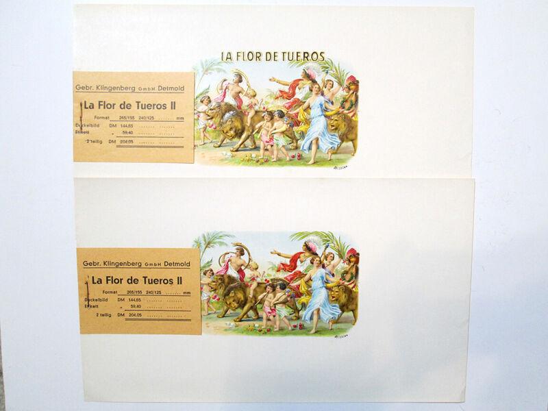 Vintage La Flor De Tueros Cigar Labels Original Work Order Klingenberg Set of 2