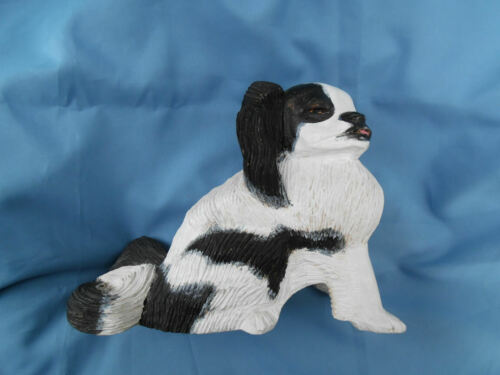 VINTAGE JAPANESE CHIN DOG CARVED WOOD SCULPTURE ARTIST SIGNED