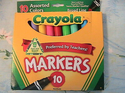 CRAYOLA SET OF 10 MARKERS for ART~CRAFT~non-toxic, broad line~Hallmark guarantee