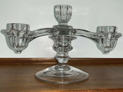 Vintage CAMBRIDGE 2-piece GLASS EPERGNE Candelabra 4 Candle Holders - $37.99