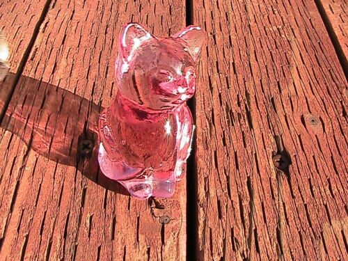 """Collectible FENTON PINK Glass Cat Figurine - 3"""" tall - 128.5g"""