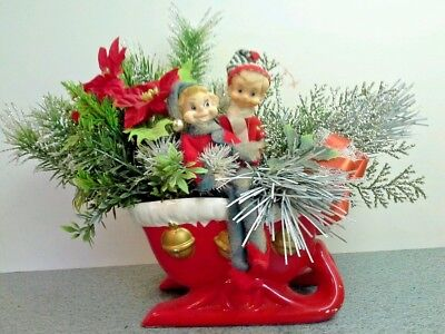 Vintage Christmas Center Piece, Red INARCO SLEIGH PLANTER With Two Pixie Elves
