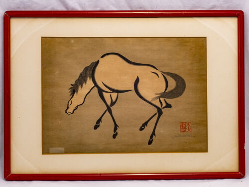Four Vintage Japanese Woodblock Prints of Horses by Mikuchu