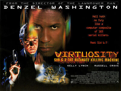 "Virtuosity movie poster print - Russell Crowe, Denzel Washington - 12"" x 16"""