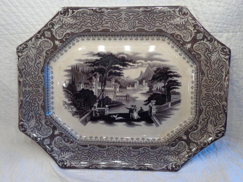 Antique Ironstone Missouri Pattern Platter, Barker & Son, 1850-1860 (j)