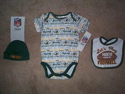 Green Bay Packers nfl INFANT BABY NEWBORN Jersey Hat & Bib Set 3-6M 3-6 Months (Green Infant Nfl Jersey)