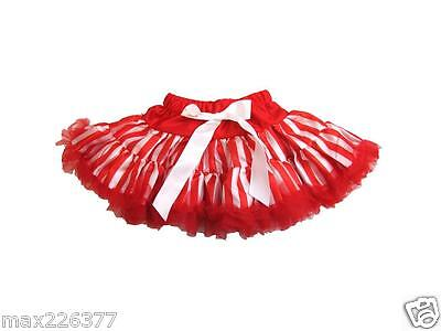 New tutu pettiskirt stripes red skirt CANDY CANE stripes Christmas  2-4  years