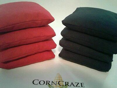 CORNHOLE BAGS SET OF 8 RED AND BLACK QUALITY ACA REGULATION SIZE FREE SHIPPING