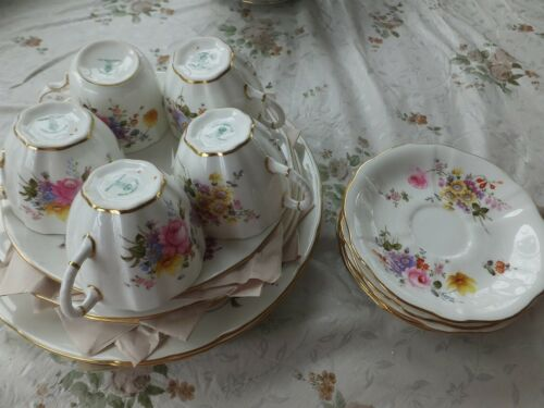 Set of 20 pieces of Vintage Floral Royal Crown Derby Plates-Cups- Saucers