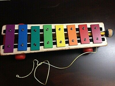 Vintage 1964 #870 Fisher-Price Pull-A-Tune Xylophone with Mallet