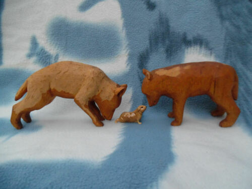OLD CARVED WOOD WOLF SCULPTURES CANADIAN ART LOT OF TWO