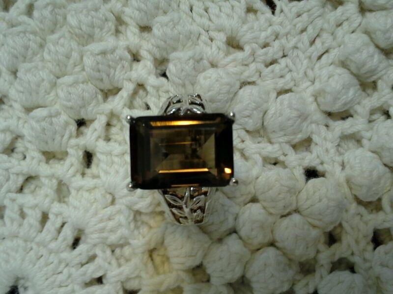 Smokey topaz sterling silver ring