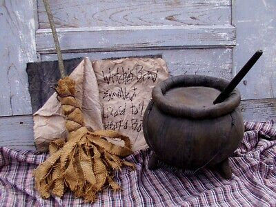 Primitive WITCHES BREW Halloween CAULDRON, BROOM, SPELL BOOK - Witches Cauldron Halloween