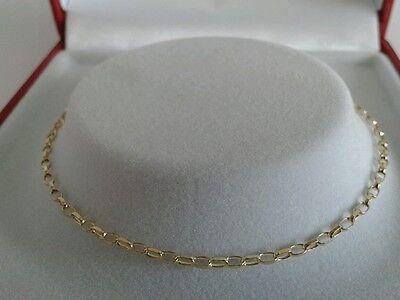 9ct Gold Ladies Solid Link Diamond Cut Belcher Anklet.  Hallmarked. 9.5 Inch.