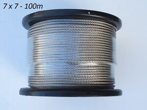 100m Marine Stainless Steel 316 Cable Wire Rope Decking Balustrade 7 X 7 3.2mm