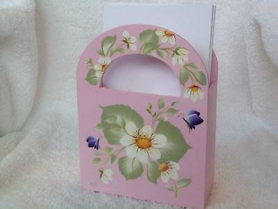 White Wood Caddy - WHITE DAISY PAPER DESK CADDY - GIFT BOX - WOOD FAVOR BOX