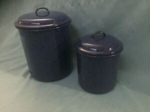 Vintage Blue and White Enamelware Canisters