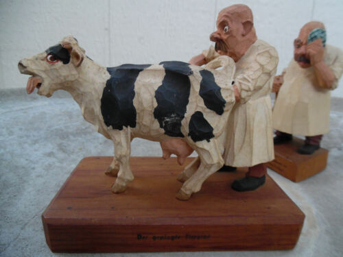 Gg HEISSWOLF CARICATURE VETERINARIANS AND COW CARVED WOOD GERMAN FIGURES 1950