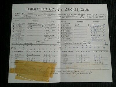 Glamorgan Yorkshire 1973 Cricket scorecard scores partly Geoff Boycott signed