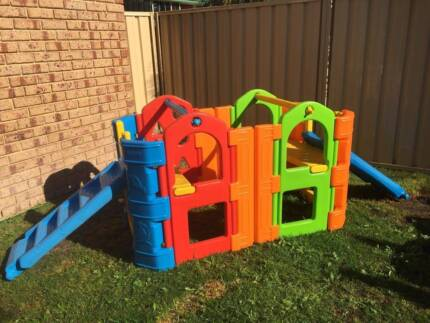 Playgym double with slides and waterplay swing bar