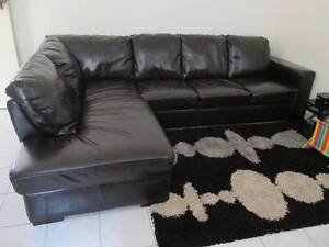 Large Black Micro leather Sofa 3 seater And Lounge - $350 Wiley Park Canterbury Area Preview