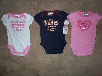 (3) Chicago Bears nfl INFANT BABY NEWBORN CREEPER Jersey Shirt 0-3M 0-3 -
