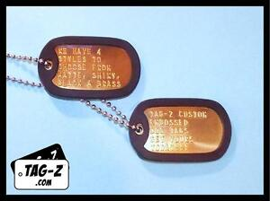 2-Military-Dog-Tags-Custom-Embossed-Brass-GI-Identification-w-Silencers