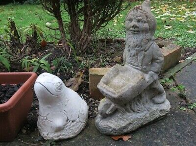 COLLECT ONLY Garden concrete gnome with wheelbarrow and clay? toad frog