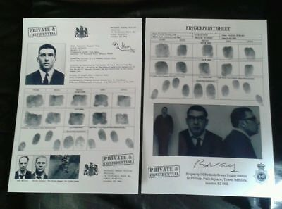 RONNIE & REGGIE KRAY FINGERPRINT SHEETS / SET OF 2. THE KRAY TWINS. LEGEND CRIME