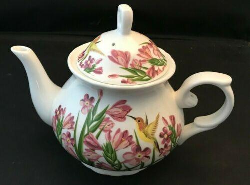 Floral Hummingbird Teapot