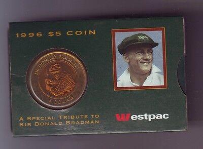 1996 Sir Donald Bradman Cricket Legend  5 Unc Coin In Westpac Bank Sleeve M 288