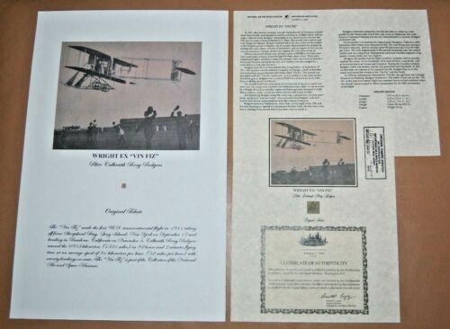 "Wright Brothers EX ""Vin Fiz"" Original Aircraft Fabric  17"