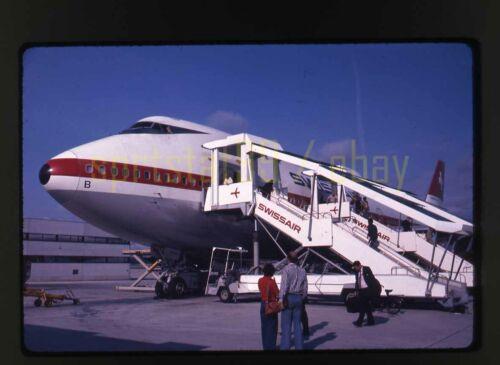 1976 Swissair Jet Airplane - Vintage 35mm Plane Slide