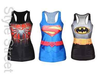 Spiderman Batman Tank Top Blogger Trägertop Kostüm Shirt XS/S/M - Top Spiderman Kostüm
