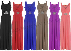 LONG-BRIDESMAID-FORMAL-GOWN-BALL-PARTY-COCKTAIL-EVENING-PROM-BUCKLE-MAXI-DRESS