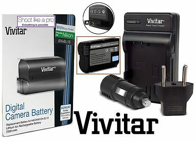 Super Capacity EN-EL15 Battery With Rapid Charger for Nikon D7500 D500