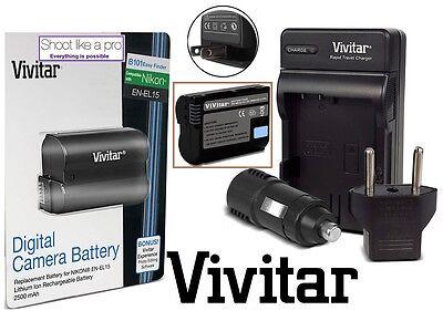 Hi-Cap. EN-EL15 Battery & Rapid Charger for Nikon D750D D7200 D7100 D7000 1 V1 for sale  Shipping to India